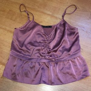 DUSTY PINK SILK CROP TOP